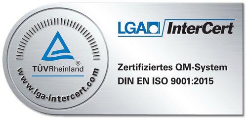 Zertifiziertes QM-System DIN EN ISO 9001.2015