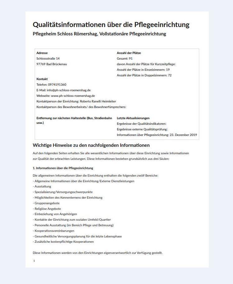 Qualitätsinformationen über das Pflegeheim Schloss Römershag (Pflegebericht FQA vom 27.11.2019)